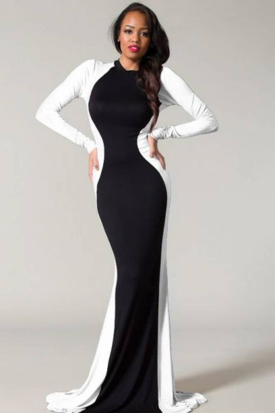 Glam Rock Black &amp- White Couture Long Sleeve Maxi Dress - Sleeve ...