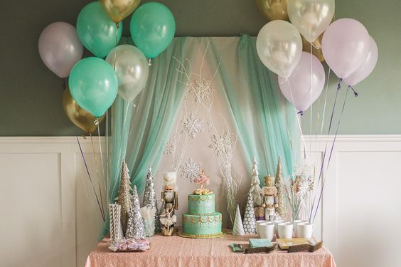 Winter Nutcracker First Birthday Party Dessert Table - love the pastel and metallic color scheme!