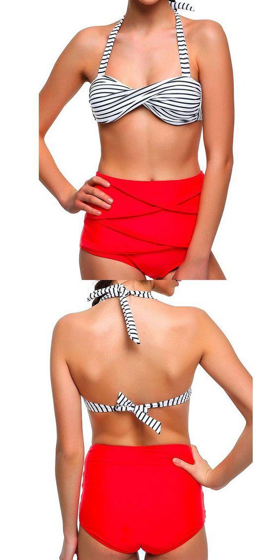 2016 Women Retro Pinup Rockabilly Vintage Sexy High Waist Bikinis Set Swimsuit Swimwear Push Up Bathing Suit Beachwear Bikini $20.97