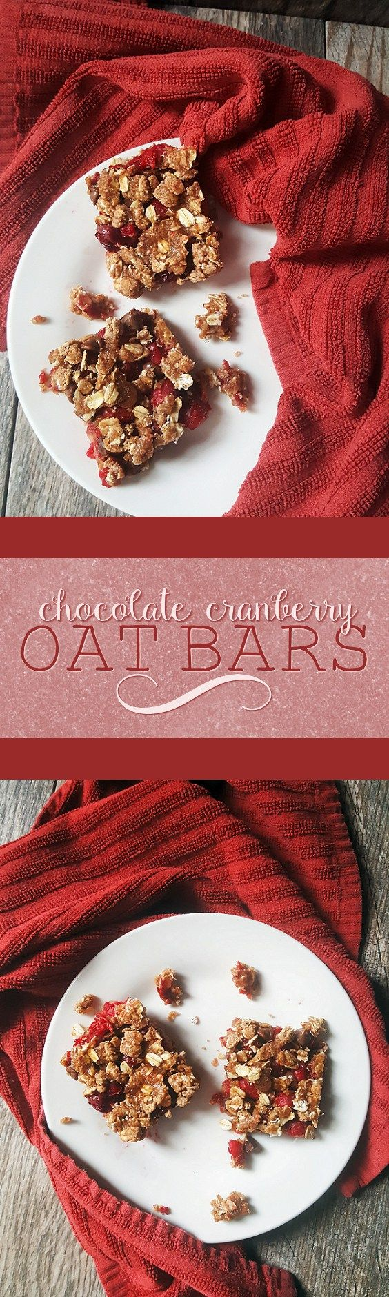{Healthy, Low Calorie, Vegan} These chocolate cranberry oat bars are a deliciously sweet and tart dessert-- perfect for the holiday season!