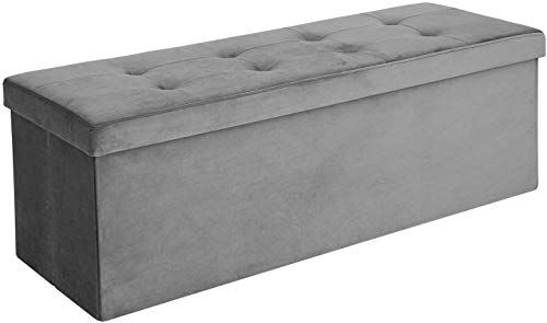 New Songmics Folding Storage Ottoman Bench Modern Rectangular Storage Chest Footstool Upholstered Tufted Toy Chest Velveteen Gray Ulsf73gy Online Shopping In 2020 Storage Ottoman Bench Ottoman Bench Solid Wood Platform Bed