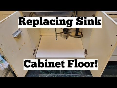 How To Replace A Rotten Kitchen Cabinet Floor 8 Simple Steps Youtube Flooring Replacing Kitchen Cabinets Sink Repair