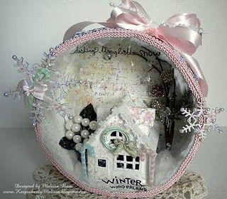 Winter scene in a hat box.