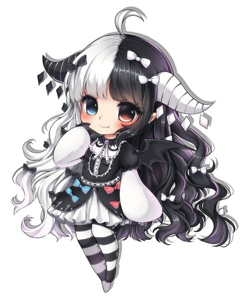 Anime picture 1885x2322 with midna01 single tall image blush blue eyes highres black hair red eyes smile simple background fringe white hair very long hair ahoge horn (horns) heterochromia transparent background bicolored hair bat wings girl