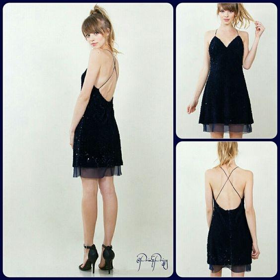Night Sky Cami velvet sequin slip dress with a v-neckline. Criss cross detail in the back. Sheer chiffon hem. Zipper closure.  Available in XS, S, M, L. @Prim&Prissy  Dresses Midi