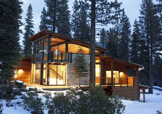 Cozy modern mountain retreat in lake tahoe window cabin for Mountain modern house plans