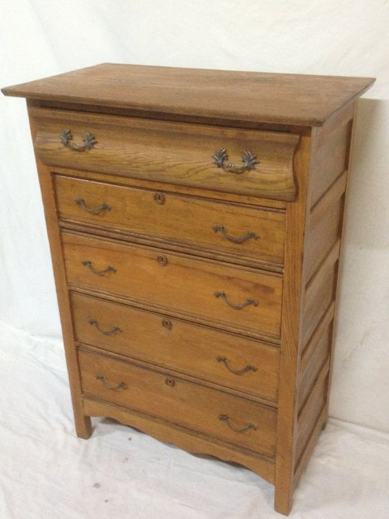Beautiful antique early american tall boy solid oak for Bureau hardware