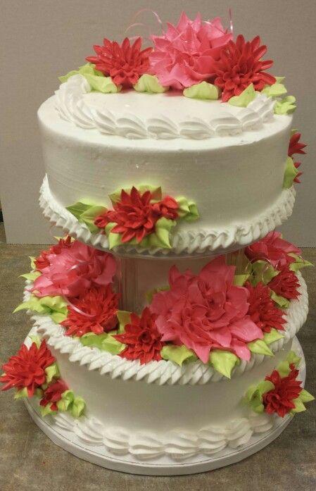 Wedding cake raspberry colors