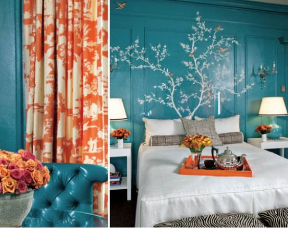 love the mix of colors: Blue Wall, Wall Color, Turquoise Wall, House Idea