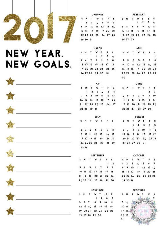 Calendar Year Goals : Calendar gold glitter goal planner new year