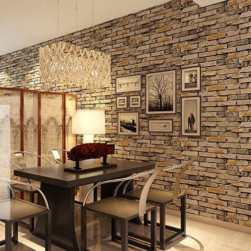 Madeira Pedra Wallpaper 3D PVC Papel Parede De Tijolo