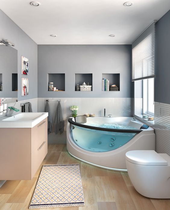 Baños Residenciales Modernos:Baño y jacuzzi, combinación ideal – Leroy Merlin