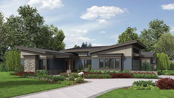 Pin By Kathleen Elbert On Ranch And Rambler Roundups Contemporary House Plans Mid Century Modern House Plans Ranch House Plans