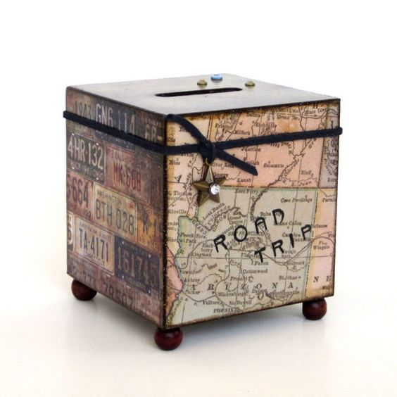 Coin bank road trip bank travel vacation decoupaged wood for Travel fund piggy bank