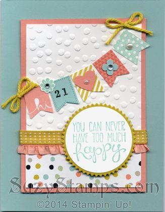 Stampin' Up! Cards - 2014-03 Class - Sale-A-Bration Sweet Sorbet Designer Series Paper, Banner Blast and Yipee-Skippee! stamp sets, Banner Punch, Starburst Framelits Dies, Decorative Dots Embossing Folder