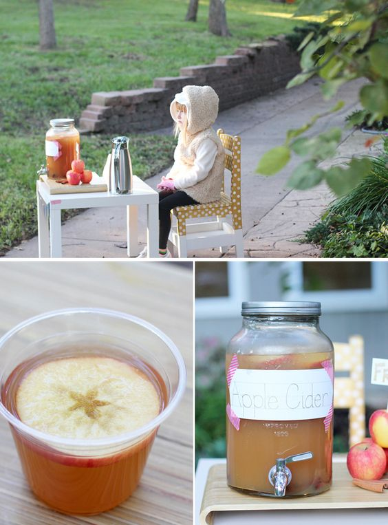 An apple cider stand for kids - such a cute fall twist on the summer lemonade stand!
