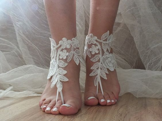 beach wedding barefoot sandals ivory lace sandals, , bridal barefoot, flexible wrist lace sandals