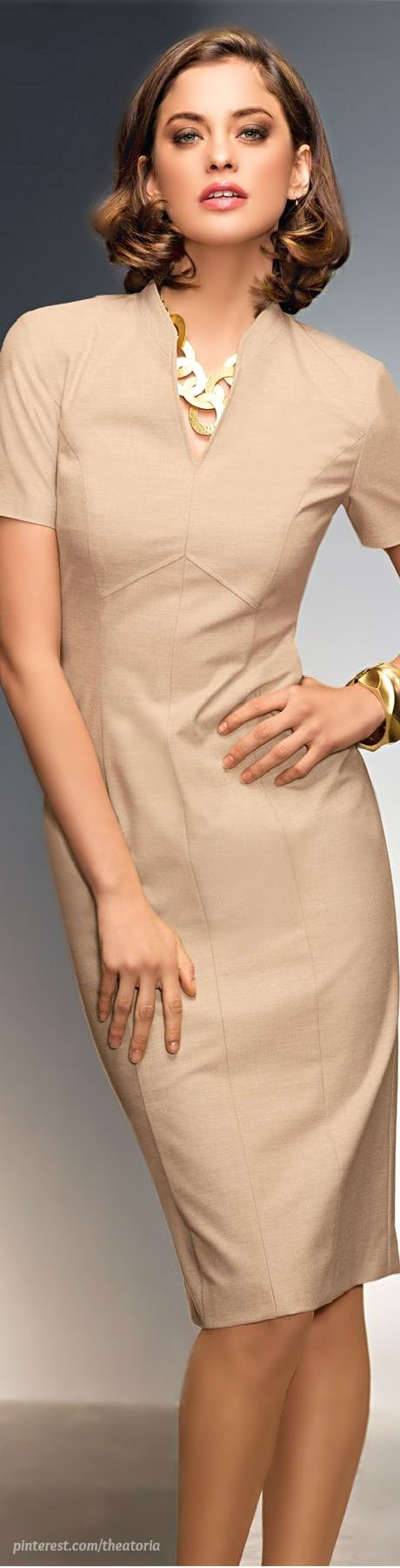 beige dress @roressclothes closet ideas women fashion outfit clothing style Madeleine: