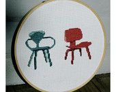Eames LCW and Cherner Armchair. Cross Stitch Pattern PDF.