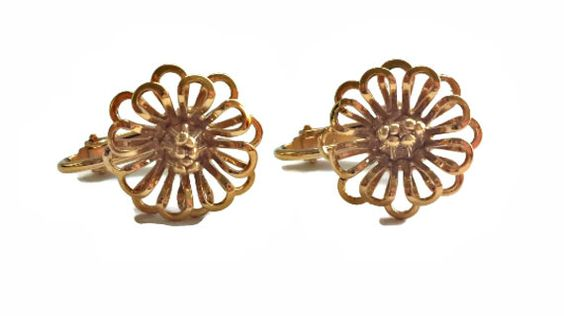 Napier Flower Earrings Open Flower Petals Gold by EclecticVintager
