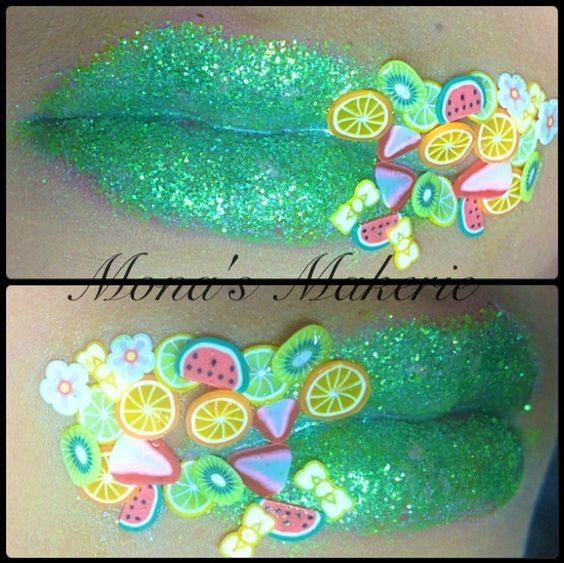 Cute green Glitter Lipstick with fruit accessories  Mona's Makerie makeup