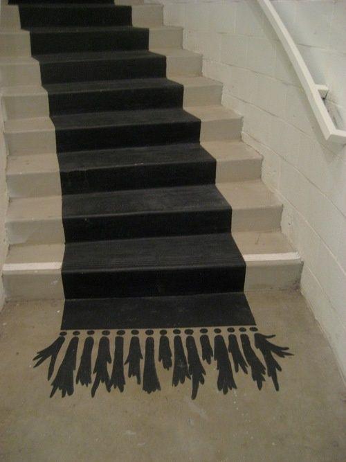 Peindre un tapis trompe l il dans l 39 escalier fallait y penser d i y - Trompe l oeil escalier ...