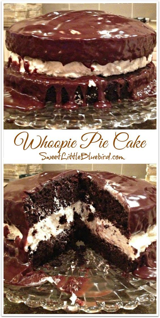 Decadent Whoopie Pie Cake | Pie Cake, Whoopie Pies and Chocolate Cakes