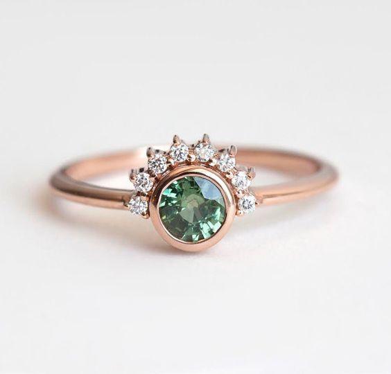 Anillo zafiro verde verde anillo de compromiso anillo por MinimalVS