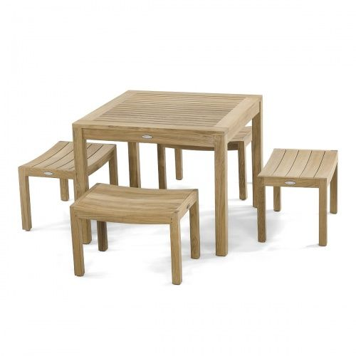 5pc Square Cafe Dining Set With Images Dining Table With Bench