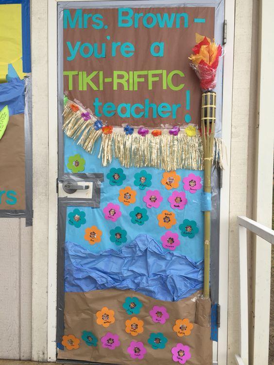 Door banner for teacher - Hawaiian theme