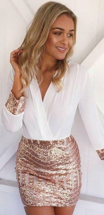 Saturday Night Chiffon + Sequin Little Dress …
