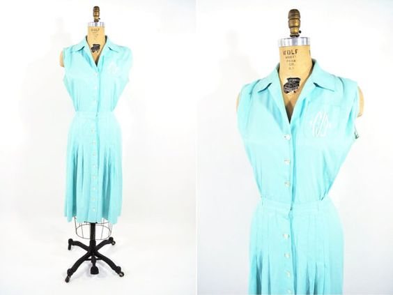 Hey, I found this really awesome Etsy listing at https://www.etsy.com/listing/104579430/1950s-dress-vintage-50s-aqua-button-down