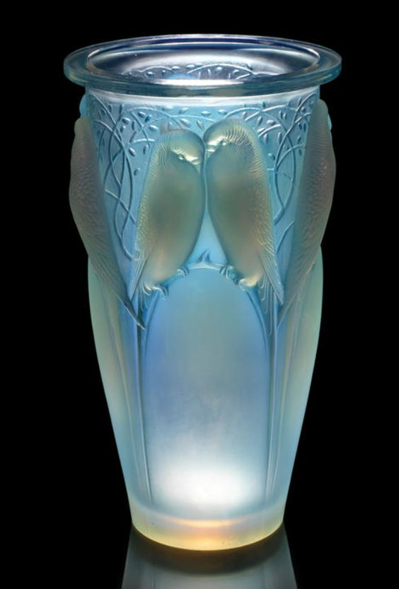 René Lalique  'Ceylan' a Vase, design 1924  opalescent glass, heightened with blue staining  24cm high, etched 'R. Lalique France'
