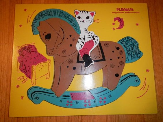 vintage playskool wooden puzzles horse - Google Search