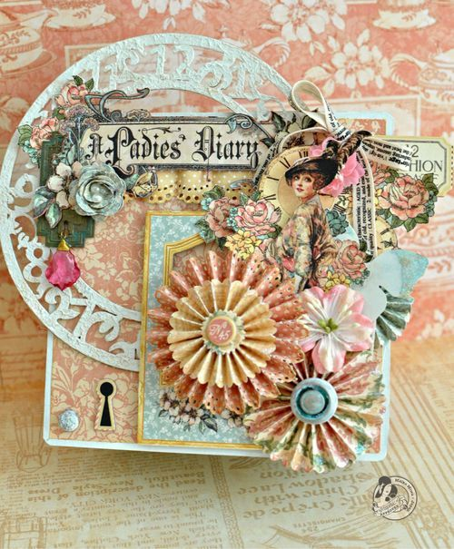 This is such a breathtaking and joyful A Ladies' Diary altered art box by @Maiko Miwa! Love the handmade flowers and rosettes! #graphic45