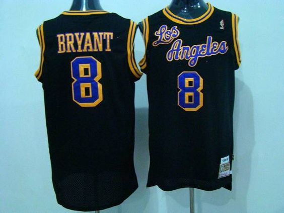 xnumvi Mitchell and Ness Lakers #8 Kobe Bryant Black Purple/Yellow Number