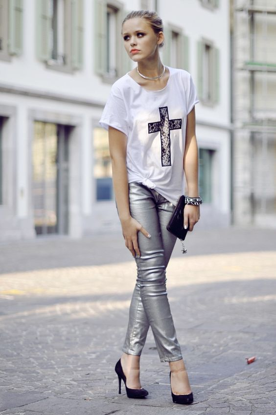 Silver Denim Jeans. Metallic Jeans  My Style  Pinterest