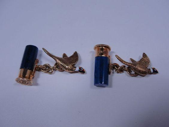 Estate 9K Holland & Holland Lapis Cartridge Shells & Flying Pheasant…