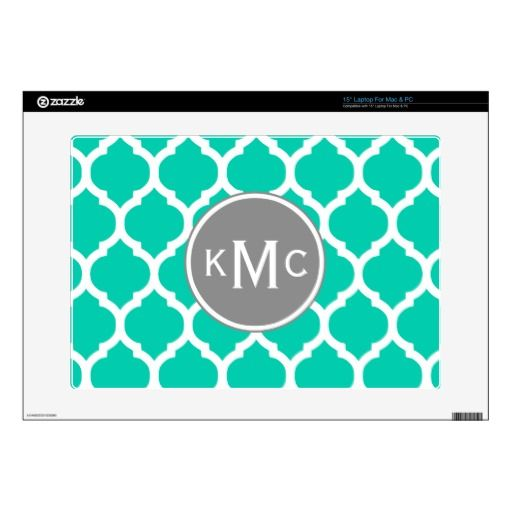 Teal Gray Moroccan Lattice Laptop Decals