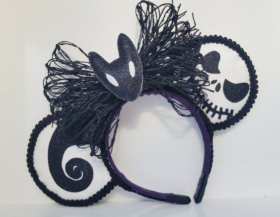 Nightmare Before Christmas ears. jack skellington halloween. Hey, I found this really awesome Etsy listing at https://www.etsy.com/listing/226321296/nightmare-before-christmas-minnie-ears: