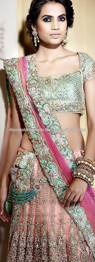 pastel lengha #saree. #Indianclothes #Indianweddinglehenga @ Looksgud.in