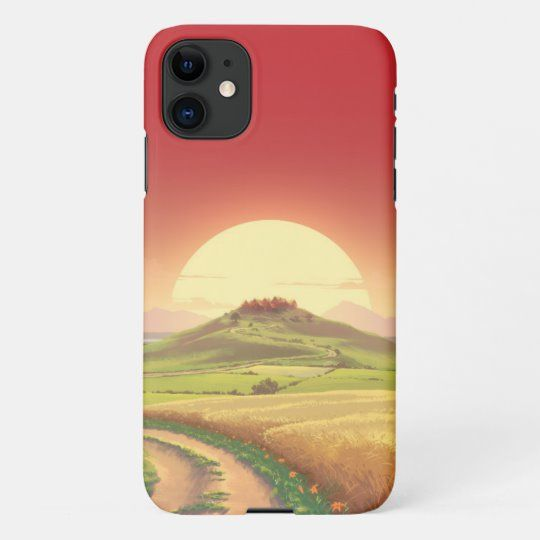 Red sunset over the field iPhone case   Zazzle.com   Cool phone ...