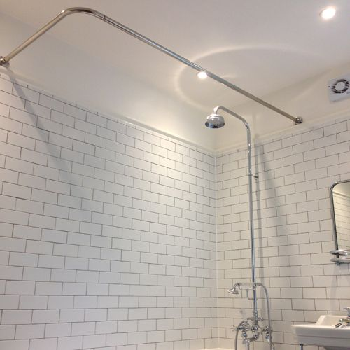 Byretech L To Wall Stainless Steel Shower Rail In A Beautifully