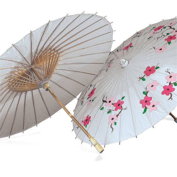 Parasols - OrientalTrading.com: whether you decorate them or leave them white, I think these are great for shading guests outdoors!