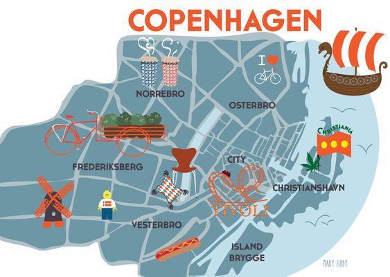 Copenhagen Map par Mary Birdy Copenhague carte illustration