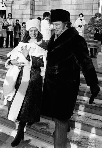Prime Minister Trudeau and his wife Margaret leave the city's Notre Dame Basilica Sunday Jan. 16, 1972 after the christening of their 22 day old infant Justin Pierre James. (CP PHOTO/ RCM)