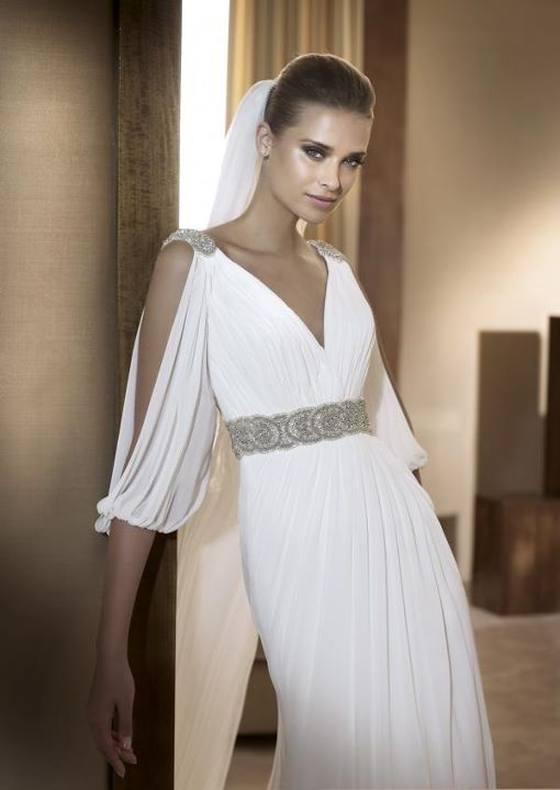 Sheath split sleeve empire waist chiffon wedding dress for Greek goddess style wedding dresses