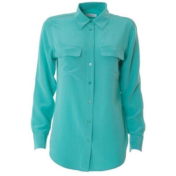 EQUIPMENT Slim Signature silk shirt ($269) ❤ liked on Polyvore featuring tops, shirts, green, silk shirt, slim fit long sleeve shirts, blue silk shirt, green silk top and long sleeve tops