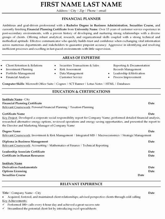 Financial Advisor Resume Objective Lovely Financial Planner Resume Sample Template In 2020 Financial Planner Financial Advisors Financial