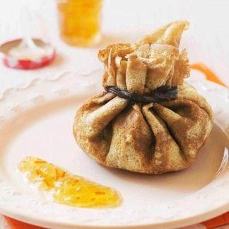 Aumoniere aux pommes, chocolat et marmelade d'oranges ameres